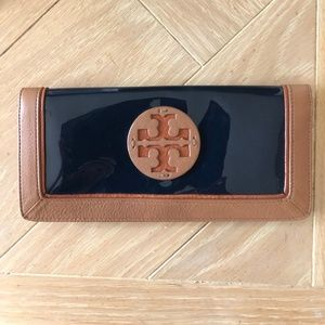 Tory Burch Blue Patent Leather Fold-Over Wallet